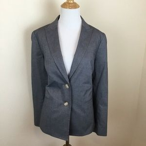 TALBOTS Women's Blue Chambray Pattern Blazer 8 New
